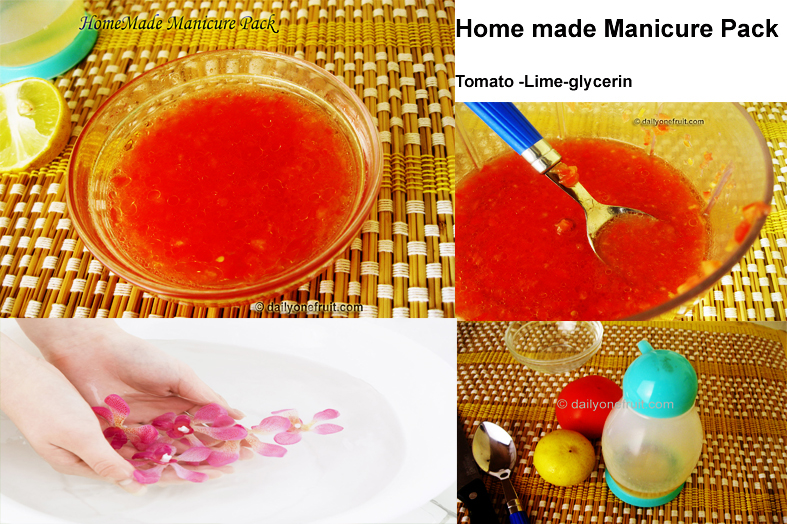 Home made Tomato Manicure Pack